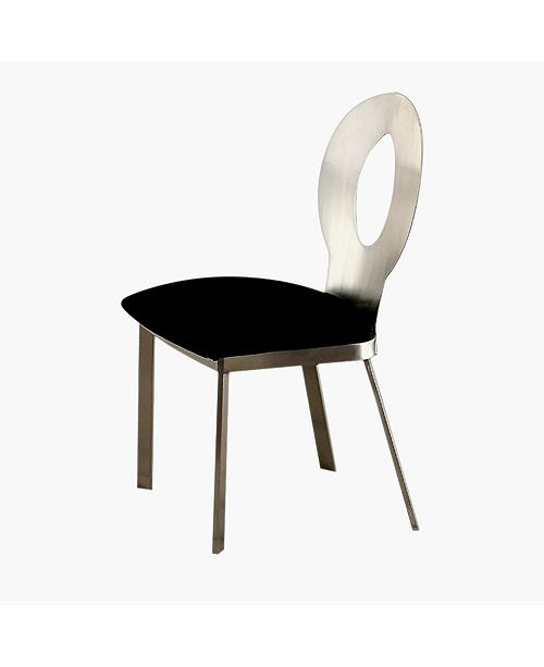 Benzara Contemporary Side Chair with Black Micro Fabric Cushion - Set Of 2