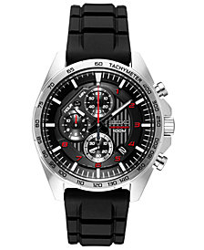 Seiko Men's Chronograph Black Silicone Strap Watch 43.9mm