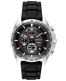 Seiko Men's Chronograph Black Silicone Strap Watch 43.9mm