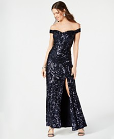 Nightway Sequined Off-The-Shoulder Gown