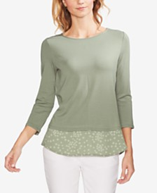 Vince Camuto Mixed-Media 3/4-Sleeve Top
