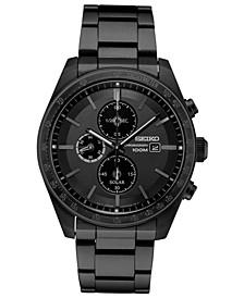 Men's Solar Chronograph Black Stainless Steel Bracelet Watch 43.2mm
