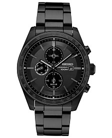 Seiko Men's Solar Chronograph Black Stainless Steel Bracelet Watch 43.2mm