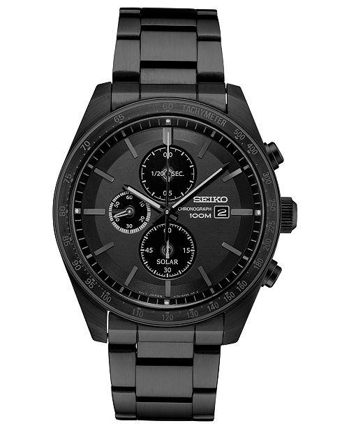 Seiko Men's Solar Chronograph Black Stainless Steel Bracelet Watch 43.2mm