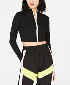 Waisted Biker Long-Sleeve Zip-Up Top