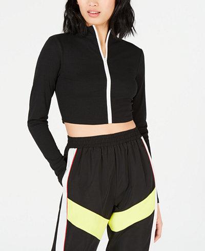 Waisted Biker Long-Sleeve Zip-Up Top