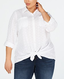 Style & Co Plus Size Cotton Textured Tie-Front Button-Up Shirt, Created for Macy's