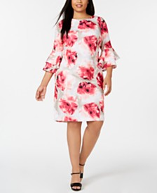 Calvin Klein Plus Size Tiered-Sleeve A-line Dress