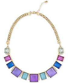 """Gold-Tone Multicolor Stone Frontal Necklace, 16"""" + 2"""" extender"""