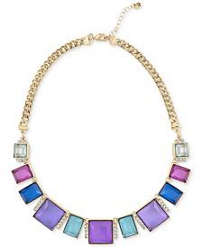 "RACHEL Rachel Roy Gold-Tone Multicolor Stone Frontal Necklace, 16"" + 2"" extender"