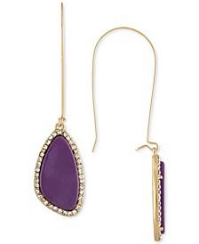 Gold-Tone Purple Stone Drop Earrings