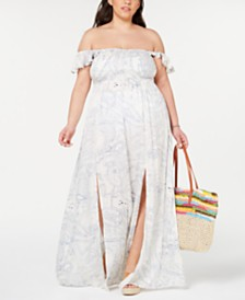 Raviya Plus Size Off-The-Shoulder Cover-Up Dress