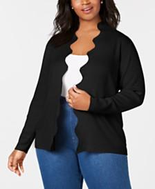 Belldini Plus-Size Scalloped-Edge Open-Front Cardigan