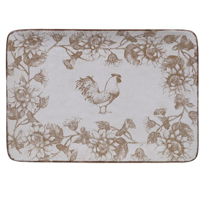 Certified International Toile Rooster Rectangular Platter