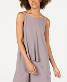 Eileen Fisher Sleeveless Draped Silk Top, Regular & Petite