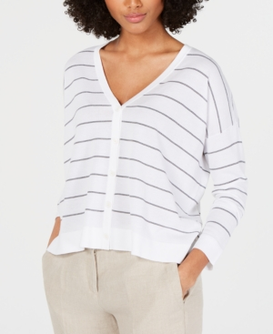 Eileen Fisher Tops V-NECK STRIPED CARDIGAN
