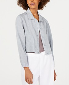 Eileen Fisher Organic Linen Classic-Collar Cropped  Jacket, Regular & Petite