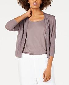 Eileen Fisher 3/4-Sleeve Organic Linen Cardigan, Regular & Petite