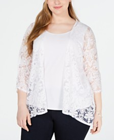NY Collection Plus Size Floral-Burnout Layered-Look Top