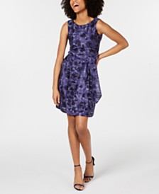 Anne Klein Printed Belted A-Line Dress