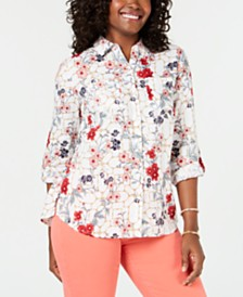 Charter Club Petite Linen Floral-Print Roll-Tab Blouse, Created for Macy's