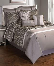 Heston 10 Pc Comforter Set King Plat