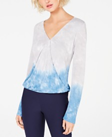 I.N.C. Tie-Dyed Surplice Top, Created for Macy's