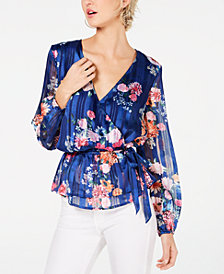 I.N.C. Floral-Print Wrap Top, Created for Macy's