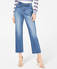 INC Tie-Waist Raw-Hem Ankle Straight Jeans, Created for Macy's