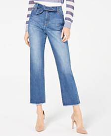 I.N.C. Tie-Waist Raw-Hem Ankle Straight Jeans in Curvy, Created for Macy's