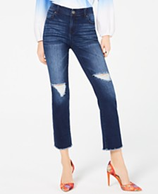 I.N.C. Distressed Raw-Hem Straight-Leg Cropped Jeans, Created for Macy's