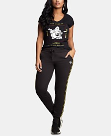 True Religion Embellished Printed Cotton T-Shirt