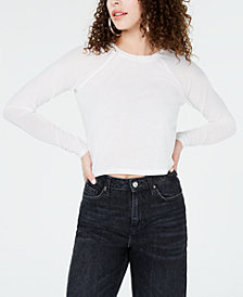Material Girl Juniors' Illusion-Sleeved Crop Top, Created for Macy's