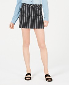 Tinseltown Juniors' Striped Denim Mini Skirt