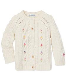 Polo Ralph Lauren Baby Girls Floral Aran-Knit Cardigan Sweater