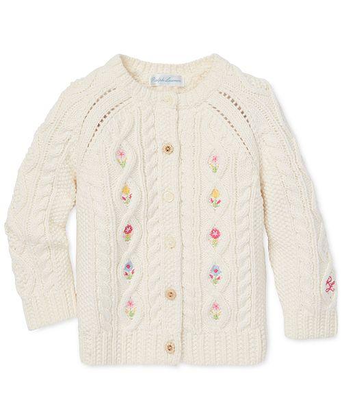 1f68b9670d Polo Ralph Lauren Baby Girls Floral Aran-Knit Cardigan Sweater ...