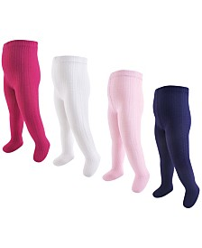 Hudson Baby Girl Cotton Tights 4Pack 0 M-4T