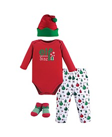 Hudson Baby Unisex Baby Holiday Clothing Gift box, 4-Piece Set, 0-6 Months