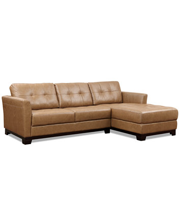 Martino Leather Chaise Sectional Sofa, 2 Piece (Apartment Sofa and ...