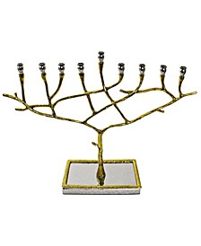 Nickel Candle Menorah with Gold trim
