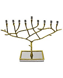 Classic Touch Nickel Candle Menorah with Gold trim