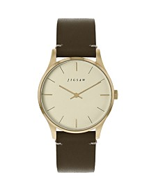 Jigsaw Ladies Watch, Gold Stainless Steel Case, Champagne Dial, Brown Genuine Leather Strap