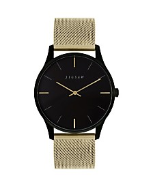Jigsaw Ladies Watch, Round Black Ip Stainless Steel Case, Black Dial, Stainless Steel Mesh Bracelet