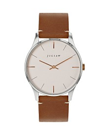 Jigsaw Ladies Watch, Stainless Steel Case, Rose Gold Dial, Brown Genuine Leather Strap