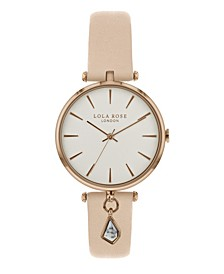 """""""Calming"""", Ladies, Nude Leather Strap with Genuine White Howlite Stone Hanging Charm, 34 MM"""