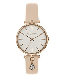 """Lola Rose """"Calming"""", Ladies, Nude Leather Strap with Genuine White Howlite Stone Hanging Charm, 34 MM"""