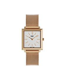 Heritage Square Rose Gold Stainless Steel Case White Dial and Rose Gold Mesh Bracelet