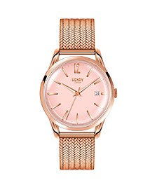 Shoreditch Ladies 39mm Rose Gold Stainless Steel Mesh Bracelet Watch with Rose Gold Stainless Steel Casing