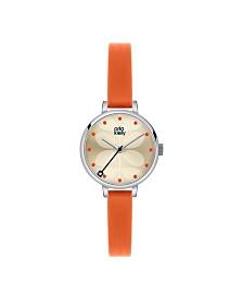 Orla Kiely Watch, Orange Leather Strap With Buckle Closure