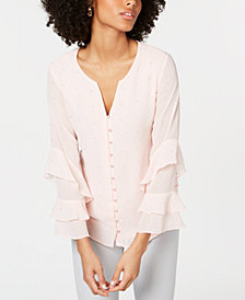 Alfani Embellished Ruffled-Sleeve Blouse, Created for Macy's